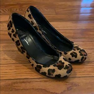 Jessica Simpson leopard wedges